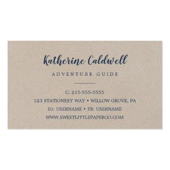 Small Kraft Rocky Mountain Adventure Guide Business Card Back View