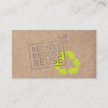 kraft trendy eco green recycle reuse reduce business card
