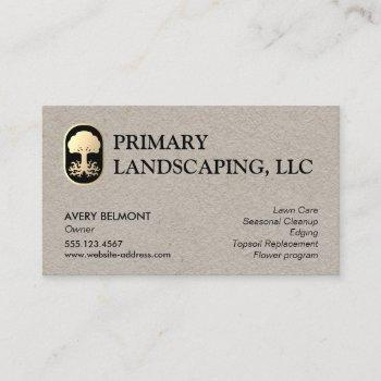 landscape and lawn care design tree with roots business card