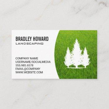 landscaping   lawn and tall trees business card