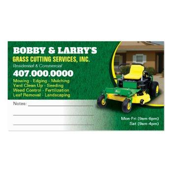 Small Landscaping Lawn Care Grass Cutting Business Card Back View