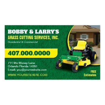 Small Landscaping Lawn Care Grass Cutting Business Card Front View
