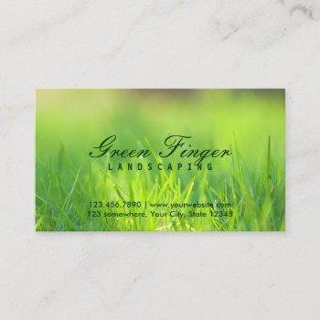 landscaping & lawn care green finger business card