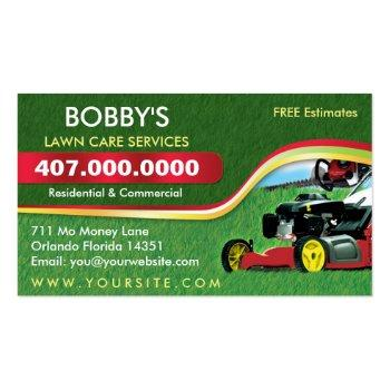 Small Landscaping Lawn Care Mower Business Card Template Front View