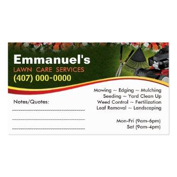 Small Landscaping Lawn Care Mower Business Card Template Back View