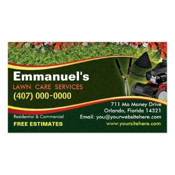 Small Landscaping Lawn Care Mower Template Business Card Magnet Front View