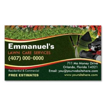 landscaping lawn care mower template business card magnet