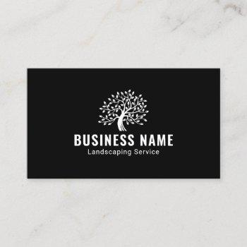 landscaping & lawn care professional tree logo business card