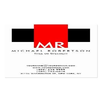 Small Large Monogram Black White Red Clean Business Card Front View