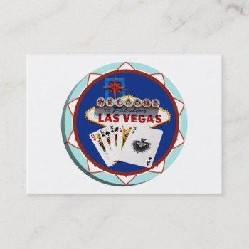 las vegas sign & cards poker chip