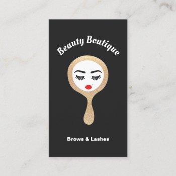 lash & brows gold glitter mirror makeup artist business card