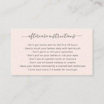 lashes aftercare blush pink elegant script business card