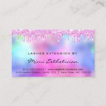 lashes aftercare instructions pink drips holograph business card