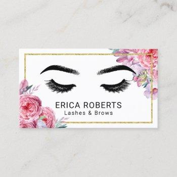 lashes & brows makeup artist modern floral salon business card
