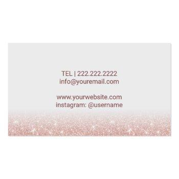 Small Lashes & Brows Makeup Artist Rose Gold Glitter Business Card Back View