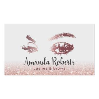 Small Lashes & Brows Makeup Artist Rose Gold Glitter Business Card Front View