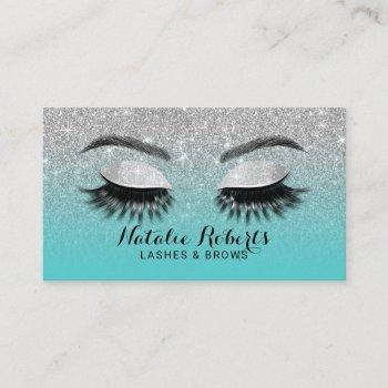 lashes brows makeup artist teal & silver glitter business card