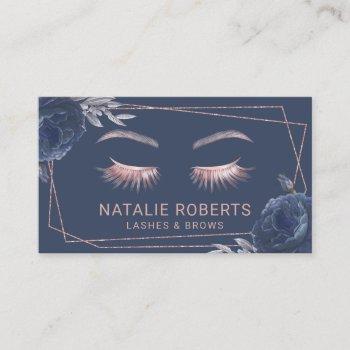 lashes makeup artist navy floral geometric salon business card