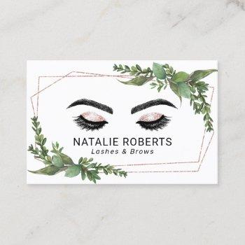 lashes makeup artist rose gold geometric greenery business card