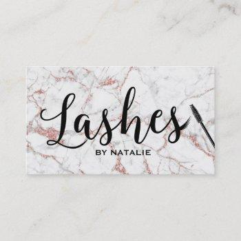 lashes makeup artist rose gold marble typography business card