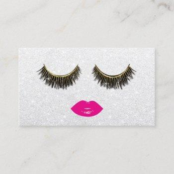 lashes & pink lips makeup artist silver beauty business card