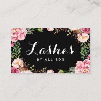 lashes script by makeup artist trendy floral wrap business card