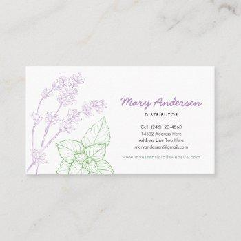 lavender and peppermint essential oil business card