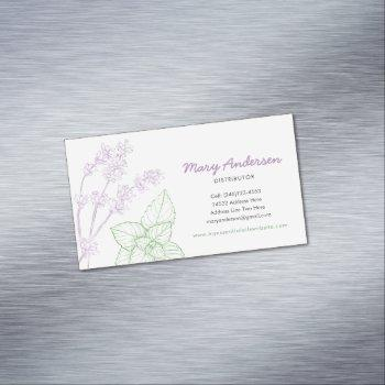 lavender and peppermint essential oil business card magnet