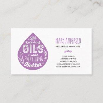 lavender essential oil drop business cards