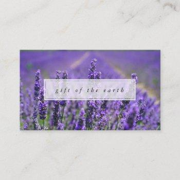lavender farm gift of the earth essential oils business card