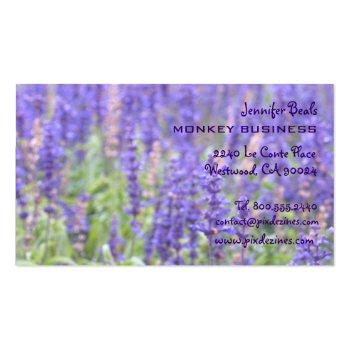 Small Lavender Field Photograph + Chocolate Business Card Back View