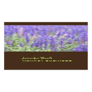 Small Lavender Field Photograph + Chocolate Business Card Front View