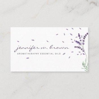 lavender floral essential oils business card