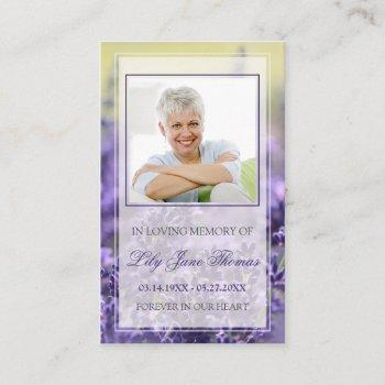 lavender funeral prayer cards | in loving memory