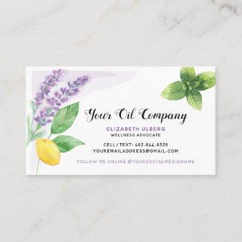 lavender, lemon, & peppermint essential oils business card