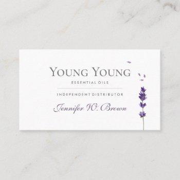 lavender purple floral elegant essential oils business card