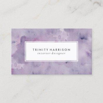 lavender purple watercolor   chic modern business card