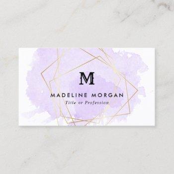 lavender watercolor faux gold geometric monogram business card