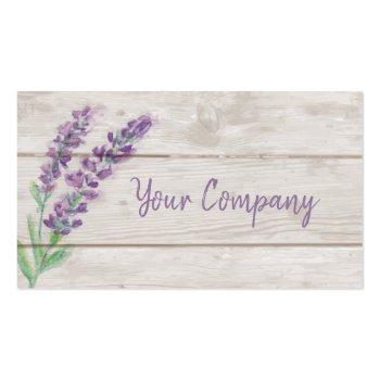 Small Lavender & Wood Watercolor Essential Oils Business Card Front View