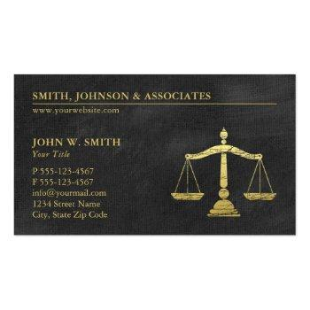 Small Law Firm Scales Of Justice Gold (effect) Lawyers Business Card Front View