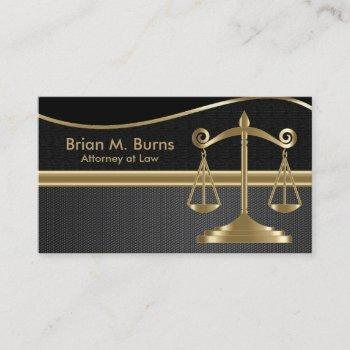 law | scales of justice | lawyer -  gold and black business card