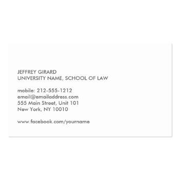 Small Law Student Modern Business Card Back View