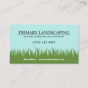 lawn care landscaper service grass business card