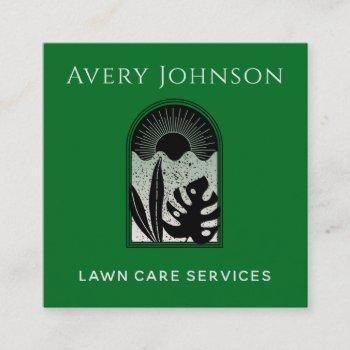 lawn care landscaping art deco modern tropical  square business card