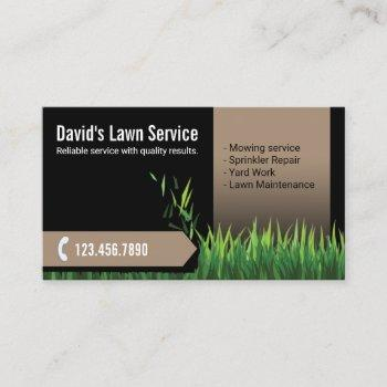 lawn care landscaping mowing black & beige business card