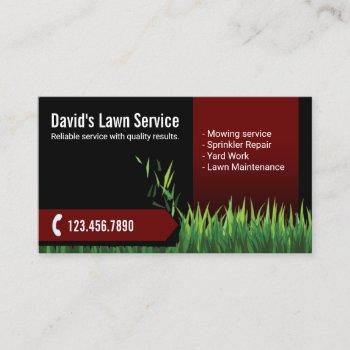 lawn care landscaping mowing black & red business card