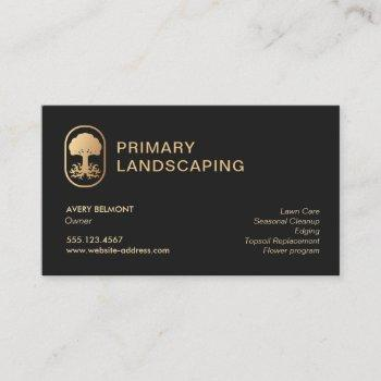 lawn care landscaping  rooted tree business card