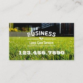 lawn care & landscaping service grass field business card