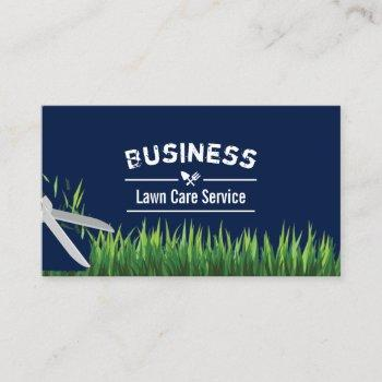 lawn care & landscaping service navy blue business card