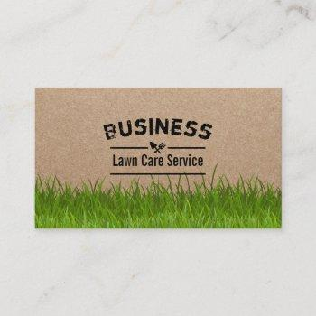 lawn care & landscaping service rustic kraft business card